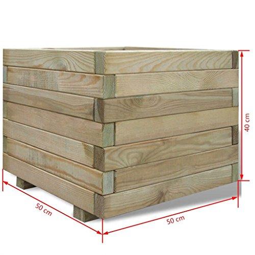vidaXL Piantatore Vaso Fioriera da Giardino Quadrato in Legno di Pino 50x50x40cm - 1
