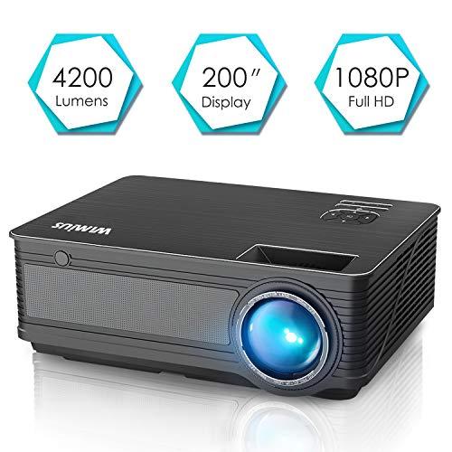 """Videoproiettore,WiMiUS 4200 Lumen LED Proiettore Full HD Supporto 1080P Con 200"""" Display Home Cinema Multimedia Proiettore per iPhone Smartphone Tablet PC Computer con TV/AV/VGA/USB/HDMI (Nero) - 1"""