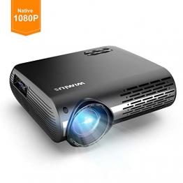 Videoproiettore,WiMiUS 4500 Lumen Nativa 1080P LED Proiettore Full HD Con 300'' Display Supporto 4K Correzione trapezoidale elettronica ± 50 °proiettore per Smartphone, P - 1