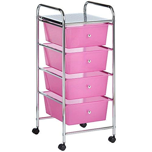 VonHaus - Carrello con 4 cassetti, per la casa e l'Ufficio, per Accessori Make-up, Colore: Rosa - 1