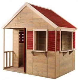 Wendi Toys M12 Summer Villa | Parco giochi per bambini Villa estiva in legno | Bambini Giardino Taglia L Casa con porta piena, finestra, tende, portico, scaffale giocattolo, persiane - 1