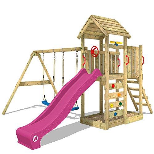 WICKEY parco giochi MultiFlyer di legno per bambini con altalena e scivolo - 1