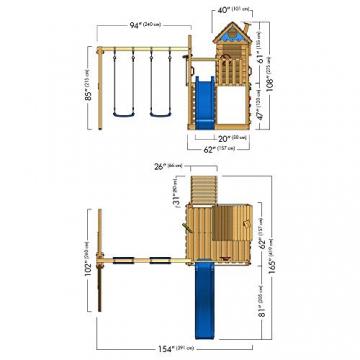 WICKEY parco giochi Smart Lodge 120 casetta da gioco di legno per bambini con altalena e scivolo - 1