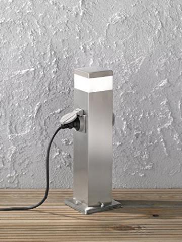 WOFI esterno della lampada da terra, metallo, integrato, 7W, in acciaio inox spazzolato, 12.5x 12.5x 50cm - 3