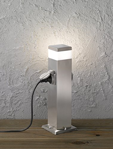 WOFI esterno della lampada da terra, metallo, integrato, 7W, in acciaio inox spazzolato, 12.5x 12.5x 50cm - 1