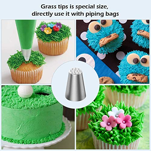 WSGQLT kit decorazione torta composto da 32 beccucci russi/cornetti in acciaio INOX, 2 sac à poche in silicone, 2 accoppiatori e 2 supporti per fiori Piping Tips - 1