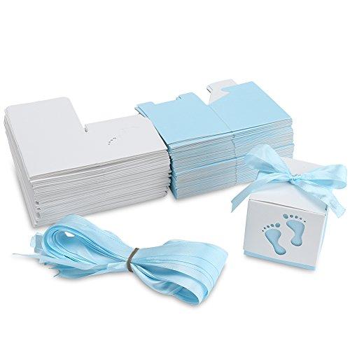 YISSVIC 100Pz Scatoline Portaconfetti Scatole Bomboniere Scatole Portaconfetti con 100 x Nastri per Anniversario di Matrimonio Battesimo Compleanno ECC-Azzurro - 1