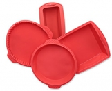 """ZOLLNER24 Set di 4 stampi in Silicone, Include Una Cassetta ca.21x8,5x6 cm, Una Forma Rettangolare ca. 18x19x5 cm, tortiera Rotonda Ø 22 cm e tortiera Bassa Ø 25 cm, Colore Rosso, Serie """"Back-4"""" - 1"""