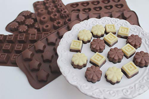 ZOLLNER24 Stampo in Silicone per cioccolatini o cubetti di Ghiaccio/formine per Caramelle/Praline, 6 Forme Diverse, Stelle, Cuori, cubetti, Fiori, Diamanti, Ciambella, Marrone, Serie Ice-Choco - 1