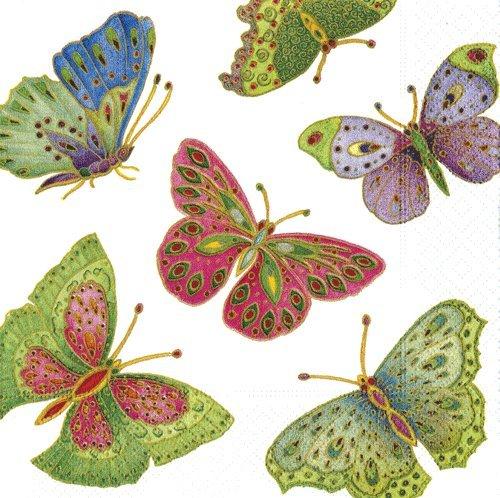4tovaglioli per decoupage–a strati, 33x 33cm–Farfalla Jewelled - 1