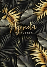 Agenda 2019 2020: Agenda 2019/20 Semana Vista, Organiza tu día - Agenda semanal 18 meses - Julio 2019 a Diciembre 2020 - Hojas de palma tropical - Dorada y negra - 1