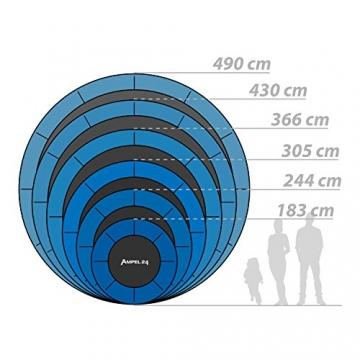 Ampel 24, Tappeto Elastico Completo con Rete di Sicurezza/Diametro di 430 cm/Rete di Sicurezza Esterna con Anello di stabilità / 10 Pali Imbottiti/capacità di Resistenza 160 kg/Verde - 6