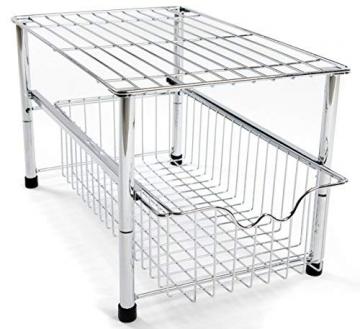 Amtido - Organizer impilabile da mettere sotto il lavabo con cestello estraibile, per cucina e bagno-cromato - 1