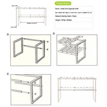 Anself Scaffale Stoviglie sotto Lavello Espandibile in Acciaio Inox Plastica per Cucina Bagno, 2 Ripiani - 9