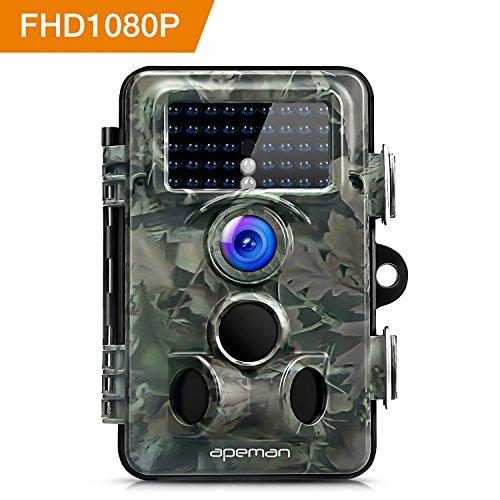 APEMAN Fotocamera Caccia con Ampio Raggio di 130°Lens Fototrappola 12MP 1080P HD Sorveglianza Casa Infrarossi Invisibili Movimento Attivato 0.2s per Visione Notturna 65ft/20m Impermeabilita IP66 - 1