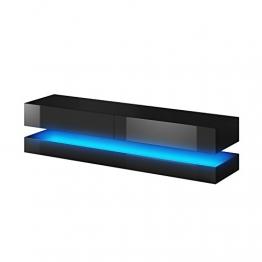 Aviator - Mobiletto porta TV sospeso / Supporto TV sospeso a parete (140 cm, nero opaco / pannelli frontali nero lucido con luci LED blu) - 1
