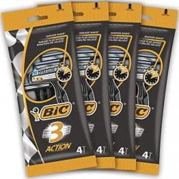 BIC 3 Action Rasoi Usa e Getta da Uomo, Confezione da 4 Pacchi a 4 Pezzi - 1
