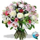 Bouquet con Roselline bianche, Lilium e fiorellini chiari - Consegna in Italia.