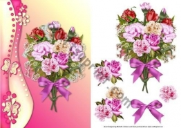 Bouquet di fiori e farfalle, con frontale per decoupage Johnson by Michelle - 1