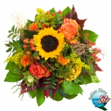 Bouquet di fiori misti con Girasoli e Roselline arancio - Consegna in Italia.