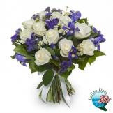 Bouquet di Rose bianche e Iris blu - Consegna in Italia.