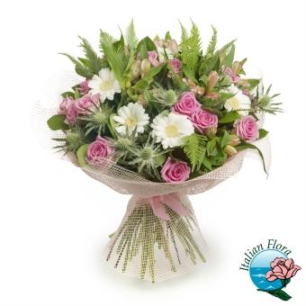 Bouquet misto dai colori rosa con Roselline e Margherite - Consegna in Italia.
