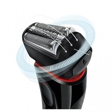 Braun Series 5 5030s Rasoio Barba Elettrico Ricaricabile a Lamina senza Fili da Uomo, con Rifinitore di Precisione Estraibile, Nero/Rosso - 2