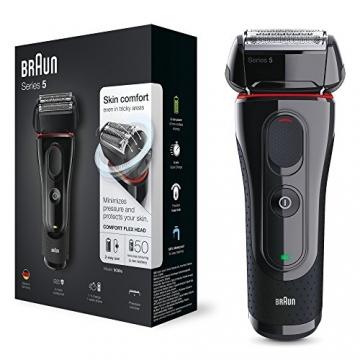 Braun Series 5 5030s Rasoio Barba Elettrico Ricaricabile a Lamina senza Fili da Uomo, con Rifinitore di Precisione Estraibile, Nero/Rosso - 1