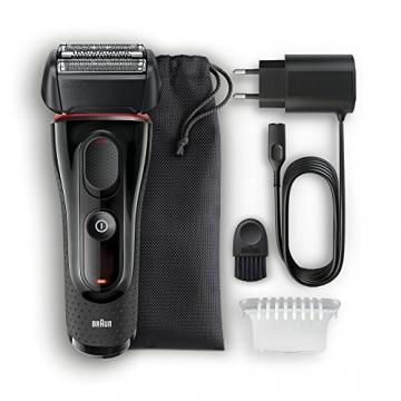 Braun Series 5 5030s Rasoio Barba Elettrico Ricaricabile a Lamina senza Fili da Uomo, con Rifinitore di Precisione Estraibile, Nero/Rosso - 5