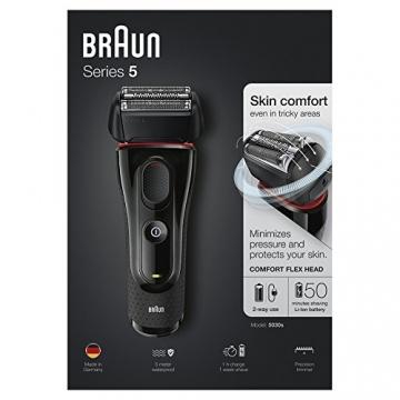 Braun Series 5 5030s Rasoio Barba Elettrico Ricaricabile a Lamina senza Fili da Uomo, con Rifinitore di Precisione Estraibile, Nero/Rosso - 7