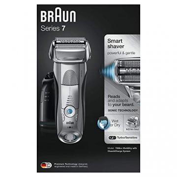 Braun Series 7 7898cc Rasoio Barba Elettrico a Lamina Wet&Dry da Uomo con Nuovo Motore AutoSense e Stazione di Pulizia Clean&Charge, Argento - 2