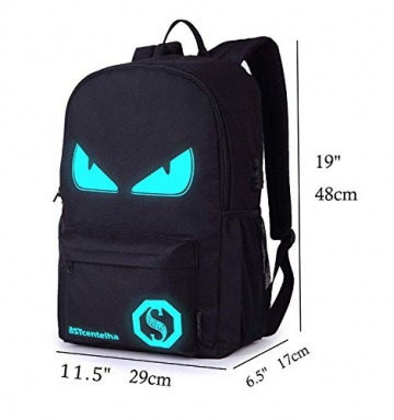 BSTcentelha Anime Borsa a tracolla luminosa leggera con scomparti per laptop per studenti Ragazzi Boy Girl Book Laptop Travel Camping (Grande) - 2