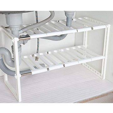 BUONDAC 40-65 * 37 * 26cm Mensola Sottolavello Scaffale Stoviglie Lavandino Cucina Regolabile Modulabile Salvaspazio 2 Ripiani Bagno Modulabile + 8 pz Gancio a S Acciaio Inox - 8