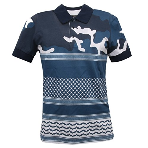 C7182 polo maglia uomo NEIL BARRET blu slim fit t-shirt men [S] - 1