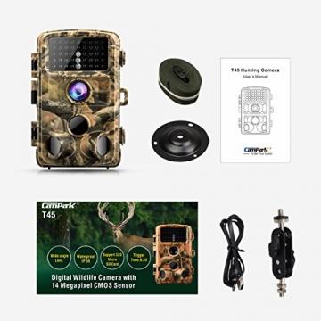 Campark Fotocamera da Caccia, 14MP 1080P Impermeabile Fototrappola Infrarossi Movimento Attivato 0.3S Scouting Camera con Visione Notturna 2,4