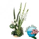 Centrotavola di fiori misti bianchi - Consegna in Italia.
