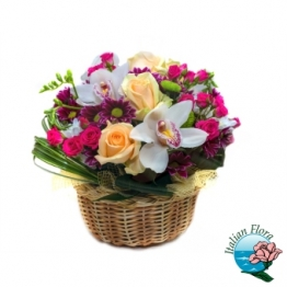 Cestino con Orchidea e Rose gialle - Consegna in Italia.