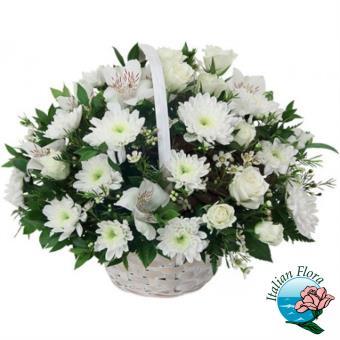 Cestino di fiori bianchi con Gerbere, Roselline e Alstromerie - Consegna in Italia.