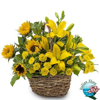 Cestino di fiori gialli - Consegna in Italia.