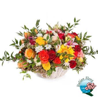 Cesto autunnale con fiori rossi e arancio - Consegna in Italia.