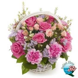 Cesto di fiori rosa - Consegna in Italia.