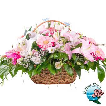 Cesto di fiori rosa e bianchi - Consegna in Italia.