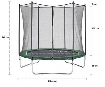 CZON SPORTS trampolino, 250 cm tappeto elastico con rete di sicurezza, verde|trampolino elastico da giardino|trampolino bambini - 6