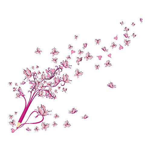 Demiawaking Matita e Farfalla Rosa Autoadesivi della Parete Impermeabili Sfondo della Stanza Decorazione della Parete della Stanza da Letto (02) - 1