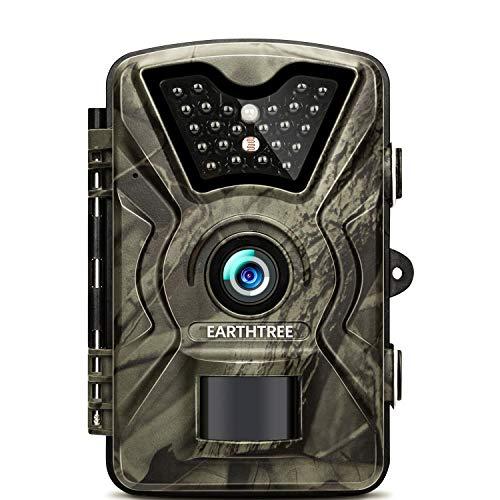 EARTHTREE Fotocamera de Caccia 14MP 1080P Fototrappola Infrarossi Invisibili Movimento Attivato 0.5s a Scatto Modalita' Notturna 65ft con 2.4 Pollici Schermo LCD Impermeabile IP66 Camera per la Caccia - 1