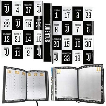 F.C. JUVENTUS - Diario Scolastico Non Datato Scuola 2019-20 Dimensioni 18,5x13,5 cm Circa - Pagine in Lingua Italiana Copertina Imbottita - 1