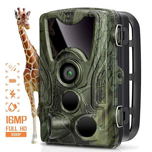 """Fotocamera da Caccia 16MP 1080P Telecamera Fototrappola a Infrarossi HD Ampia 120 ° Visuale 0.2s 940nm IR Visione Notturna 65ft con 2.4"""" LCD Schermo IP66 Impermeabile Macchine fotografiche da Caccia - 1"""