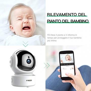 FREDI 1080P HD Telecamera Sorveglianza Wi fi Videocamera sorveglianza Wireless Wifi IP Camera Telecamera wi-fi Interno senza fill Audio Bi-Direzionale Baby Crying Detection Cam Videosorveglianza - 4