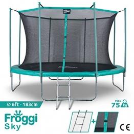 FROGGI - Tappeto elastico da esterno SKY-183 cm, norma CE, colore: Blu - 1