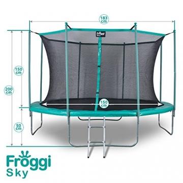 FROGGI - Tappeto elastico da esterno SKY-183 cm, norma CE, colore: Blu - 2